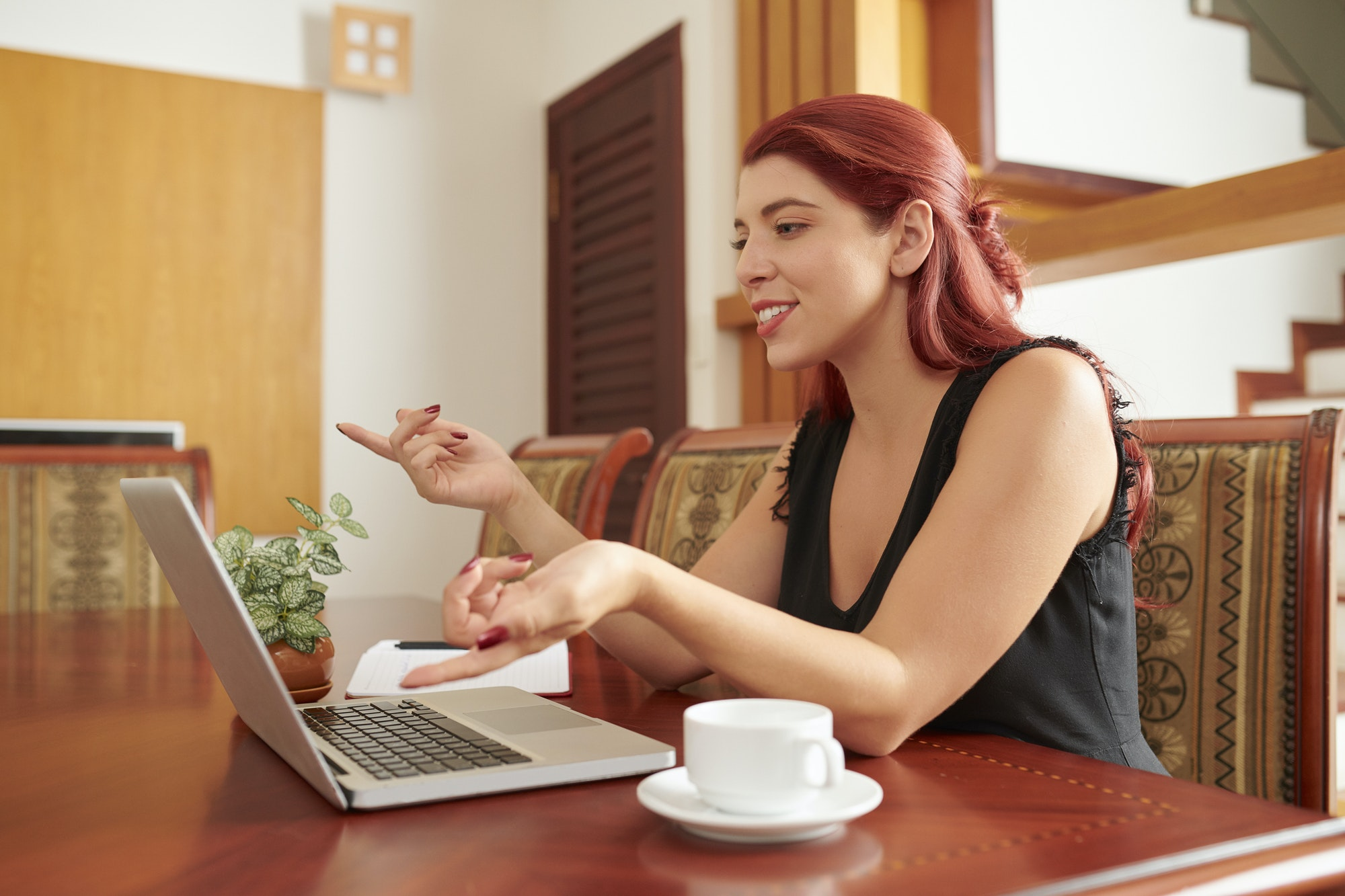Woman having online conference