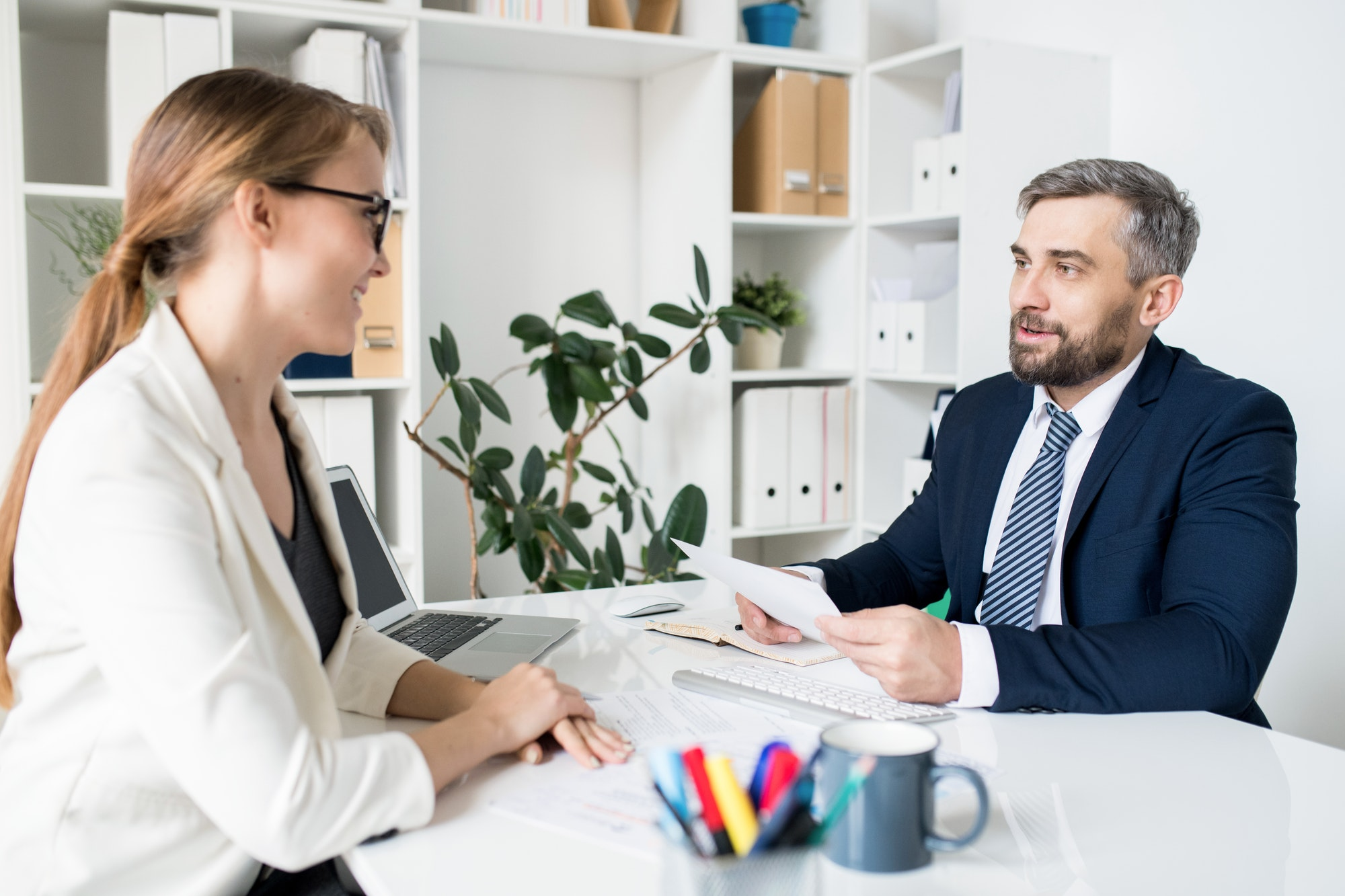 HR manager interviewing job candidate